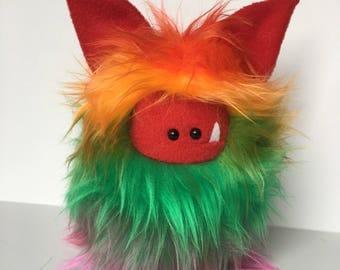 Stuffed Monster - Monster Plushie - Rainbow Monster Doll - Cuddly Monster - Soft Toy Plush Monster - Fuzzling - Monster Softie - Handmade