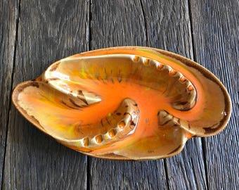 Large Mid Century Ashtray - Vintage Orange And Brown Ceramic Ashtray - California Original Pottery Ceramic Ashtray - Boho Ashtray