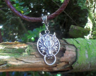 Wolf necklace, Viking leather necklace, celtic necklace, Fenrir, men's necklace with wolf, gift for women, wolf jewelry, leather jewelry
