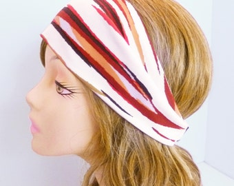 Ivory Coral Brown Rust Abstract Stripe Wide Stretch Headband