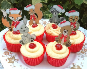Edible Christmas Santa Hat Woodland Animals 12 Cute 1st Holidays Wafer Rice Paper Forest Wedding Cake Decorations Cookie Cupcake Toppers