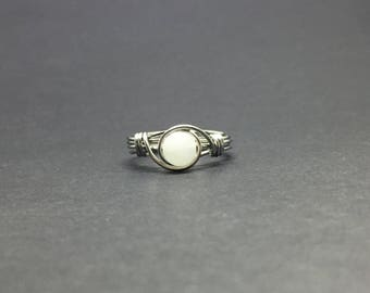 White Calcite Wire Wrapped Ring