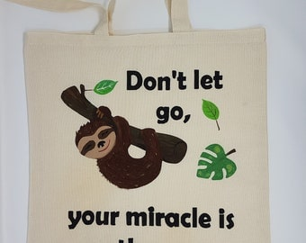 "Tote bag ""sloth  II"", cotton bag, shopping bag, shoulder bag , reusable bag,  hand painted bag, canvas bag"