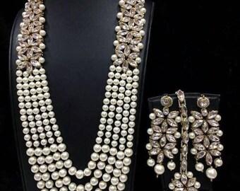 Indian Kundan Necklace, Kundan & Pearl Necklace Set W Earrings, MaangTika, Indian Bridal  Jewelry,Bollywood,Ethnic,Statement Necklace,Polki