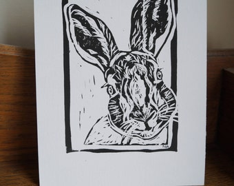 """Original, Unframed, Hand Pulled, Linocut Print - Hare - 6""""x4"""" on A5 Paper - lino ink paper"""