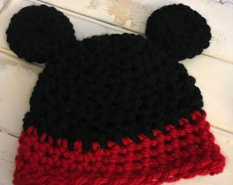 Mickey Mouse Crocheted Hat