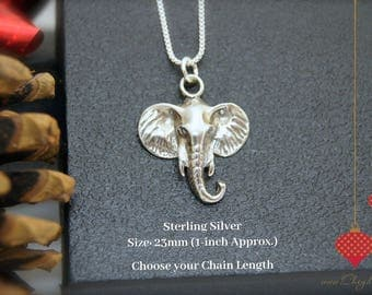 Sterling Silver Elephant NECKLACE, Valentines Day jewelry, Valentines necklaces, Valentines gift for her, Valentines for wife, girlfriend