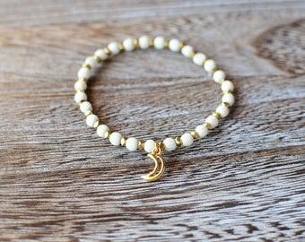 Gold Crescent Moon Wood Bracelet