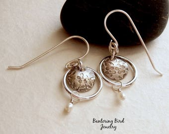 Small White Pearl Earrings with Silver Flowers in Fine Silver Hoops, Freshwater Pearl Jewelry, Sterling Silver, June Birthstone