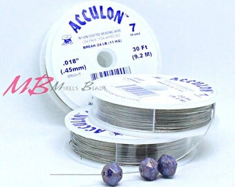018 Acculon Tigertail, 30 Ft Spool, 7 Strand Clear Flexible Wire, Flexible Beading Wire