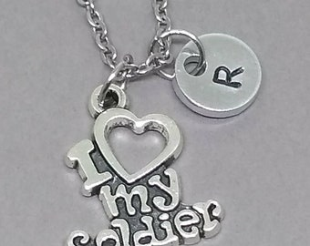 I Love My Soldier Necklace, Soldier spouse necklace, Military Family necklace, Gift for Military Family, Soldier Family Gift