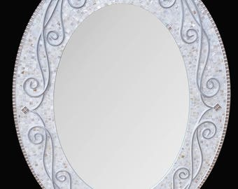 In Stock! Mother of Pearl Oval Mosaic Mirror, Large Wall Mirror, Bathroom Mirror, Decorative Mirror, Large Mirror, Wall Mirror