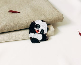 cute panda patch-iron on patch -embroidered patch -patch for jacket -DIY-high-quality