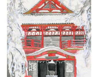 Snowy Japanese Temple