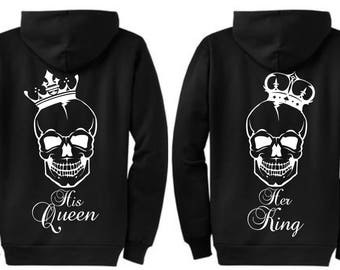 Matching Personalized Couple Her King His Queen / King and Queen Crown Sweatshirts - Zipper Hoodie Sweaters - Perfect Wedding Gift