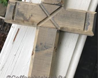 Rustic Grey Wood Cross Wall Decor  Farmhouse Style Cross Home Decor