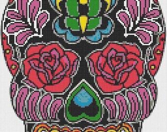 Sugar Skull Cross Stitch Pattern Pdf  punto de cruz  needlework kreuzstitch - 128 x 180 stitches - INSTANT Download - B911