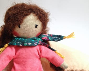 Handmade Cloth doll, Rag doll -  MILLA mini - Unique doll to be dressed with scarf