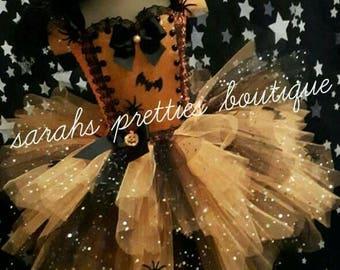 Girls halloween black/orange spider/bat/pumpkin tutu dress