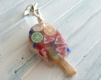 Frozen Fruit Bars Miniature Food Jewelry Charms Gifts for Her Polymer Clay Food Charms Resin Charms