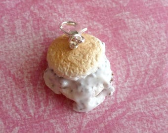 Biscuit and Gravy Charm Miniature Food Jewelry Polymer Clay Food Charms
