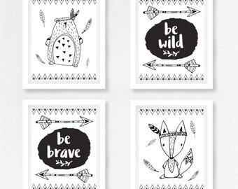 Black and White Nursery Prints, Tribal Nursery Wall Art, Gender Neutral Nursery Art, Monochrome Nursery, Monochrome Kids Room, Neutral Baby