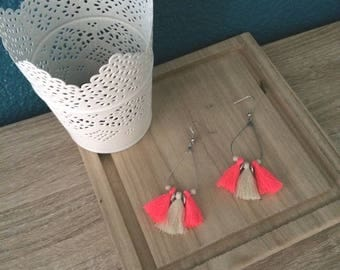 Drops earrings neon pink and cream