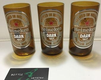Heineken Dark Beer Bottles Recycled Drinking Glasses from 12oz Bottle Holland Brewed