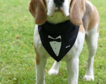 Tuxedo & Pearls embroidery bandana design