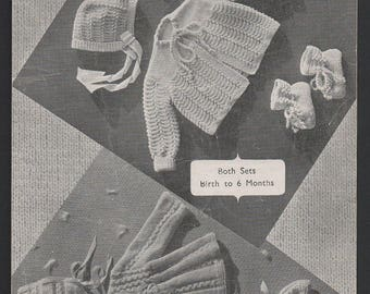 Vintage 1940's 2 Sets Baby Matinee Jacket Cardigan Bonnet Hat & bootees in baby wool  birth to 6 months Weldons A920  pdf Download
