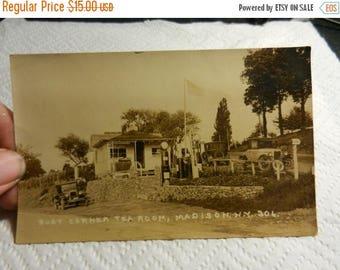Summer Sale Vintage Busy Cornor Tea Room Madison New York RPPC Post Card Early Cars