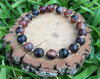 Dorothy Bracelet- Dark Striped Agate(8mm) Bracelet- gemstone bracelet- boho beaded- oliver grey jewelry