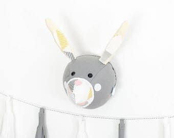 Nursery wall art, Felt bunny head, felt rabbit head, woodland nursery, faux rabbit,  animal mount, monochrome nursery, childrens bedroom