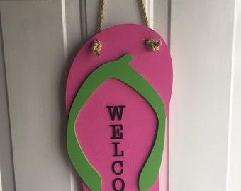 Flip flop welcome sign, flip flop door hanging