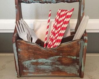 Rustic picnic caddy, napkin holder, table organizer