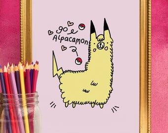 Alpaca Pokemon - Cute Kawaii Pikachu A4 And A5 Print By Holly Mac Draws