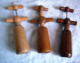 Vintage wooden, classic French Vintage corkscrew kitchen French Retro 1950's French corkscrews wooden collector