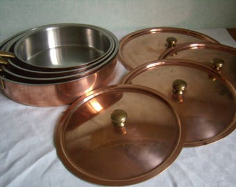 Skillet with lid in copper, stainless steel interior, 18-24 cm, 7-9, 5 inches, handles hanging brass, french Vintage