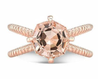 4.10 Ct. Octagon Cut Morganite & Diamond Engagement Ring on 14K Rose Gold