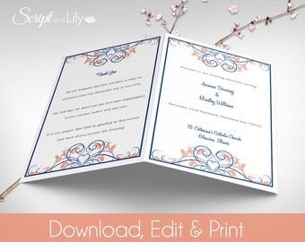 "Catholic Wedding Program Template | INSTANT DOWNLOAD | Ornate | EDITABLE Text | Dark Blue | Coral | ' Flourish ' | 5.5"" x 8.5"" folded"