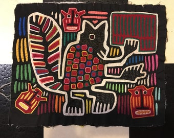 Panama Mola Wall Art Panamanian Vintage Mola Applique Indigenous Fiber Art