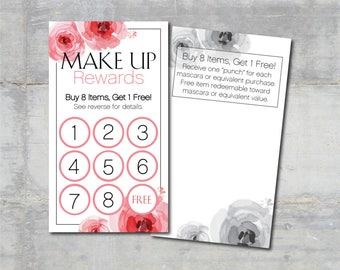 Make Up Rewards Cards | Floral | 100 - 250 - 500 | Customer Loyalty Program | Direct Sales Marketing | Small Business Tools | KFT Design