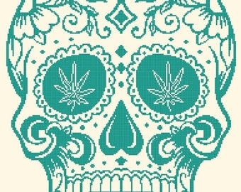 "sugar skull Counted Cross Stitch sugar skull Pattern pdf file ristipisto kuvio needlepoint korss - 13.79"" x 19.07"" - L1221"