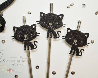 halloween straws, halloween decor, decorative straw, cat straws, black cat, halloween cat, halloween party, halloween party decor, kitty