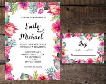 Tropical Wedding Invitation, Destination Wedding Invitation, Wedding Invitation, Wedding Invites, Printable Wedding Invites, Luau Invitation