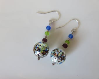 Venetian Murano glass earrings -- 925 sterling silver -- Murano glass & sea glass spacers