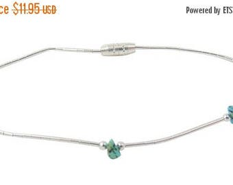 Liquid Silver Turquoise Nugget Bead Bracelet