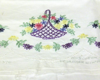 VINTAGE White Cotton Embroidered Pillow Case with Rose, Navy, Plum & Yellow Flowers, Green Leaves and Plum Basket Designs