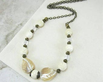 Ivory Necklace, Ivory Bead Necklace, Beige Necklace, Ivory Statement Necklace, Christmas Gifts for Mom, Gift for Her