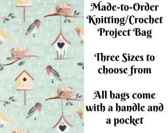 Spring Birds in Aqua, Knitting Project Bag, Crochet Bag, Cross Stitch, Zippered Bag, Knitting Organizer